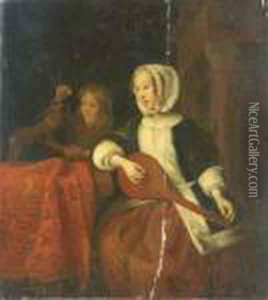 A Girl Playing A Mandolin And A Boy With A Dog Oil Painting - Gabriel Metsu