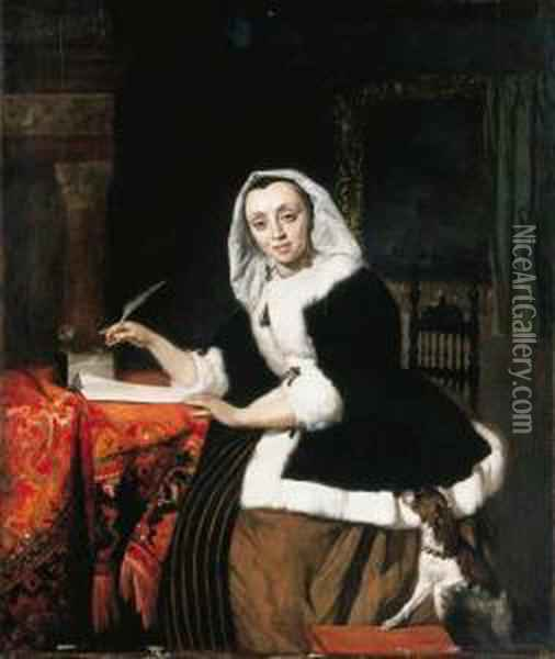 An Elegant Lady Writing At Her Desk, With A Dog Beside Her Oil Painting - Gabriel Metsu