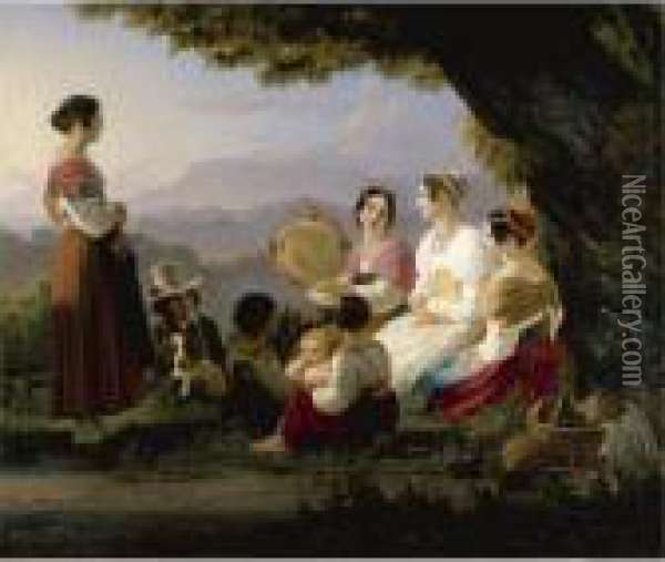 An Outing In The Monti Albani Hills, Near Rome Oil Painting - Ernst Meyer