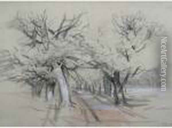 An Avenue Of Trees; Trees By A Riverside Oil Painting - John Middleton