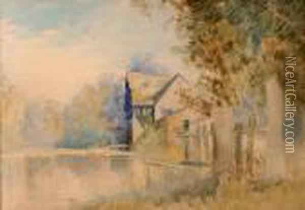 A Watermill Oil Painting - John Middleton