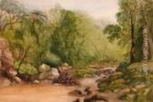 A Devonriver Oil Painting - John Middleton
