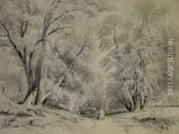 Figures With A Cart And Horse On A Wooded Country Lane Oil Painting - John Middleton