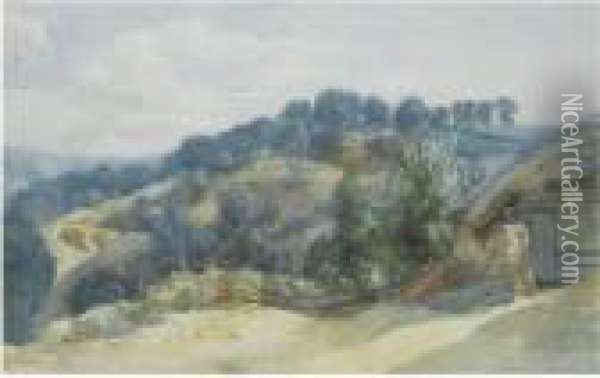 A View Of A Wooded Hillside From A Farm Oil Painting - John Middleton