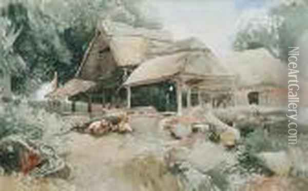 Thatched Sheds Oil Painting - John Middleton