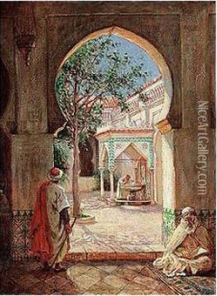 Court Of The Fountain Of Ablutions In The Mosque El Kerir, Algiers Oil Painting - Addison Thomas Millar