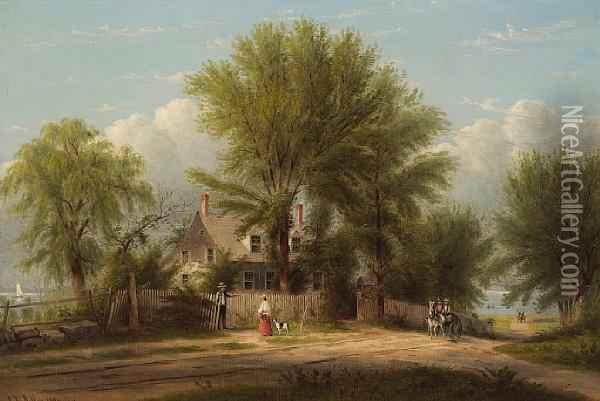 Hapelyea House: A Long Island Homestead Oil Painting - William Rickarby Miller