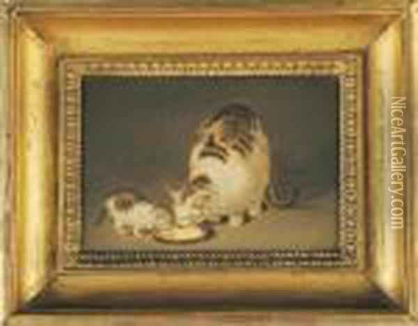 Chatte Et Chaton Oil Painting - Gottfried Mind