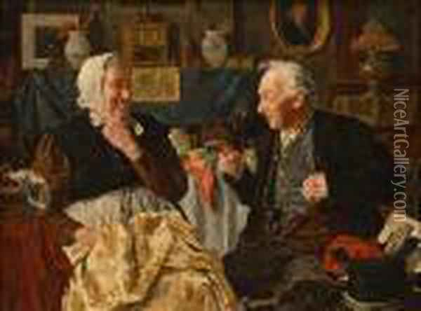 Darby And Joan; Old Heads, Young Hearts Oil Painting - Louis Charles Moeller