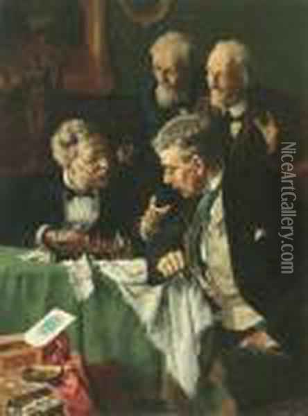 The Chess Players Oil Painting - Louis Charles Moeller