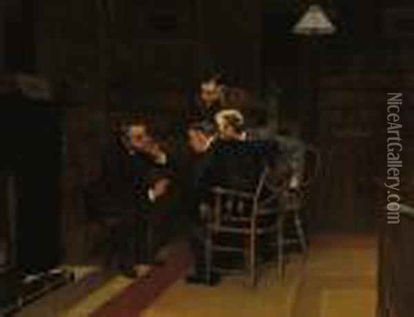 Discussion In The Library Oil Painting - Louis Charles Moeller