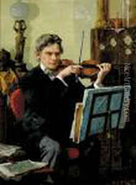 The Violinist Oil Painting - Louis Charles Moeller