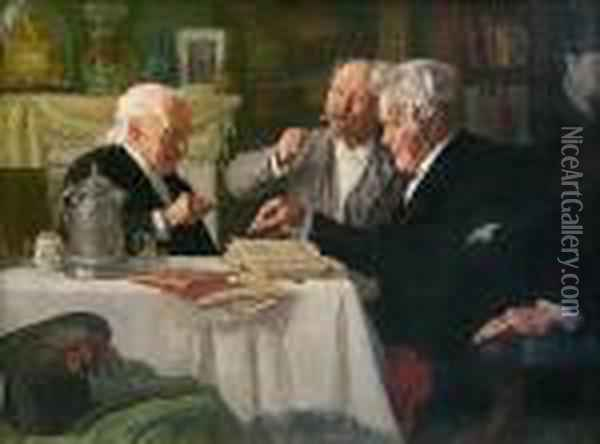 Men's Discussion Oil Painting - Louis Charles Moeller