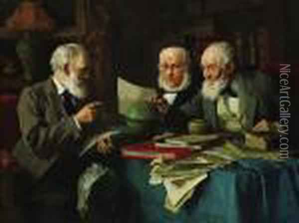 ''heated Discussion'' Oil Painting - Louis Charles Moeller
