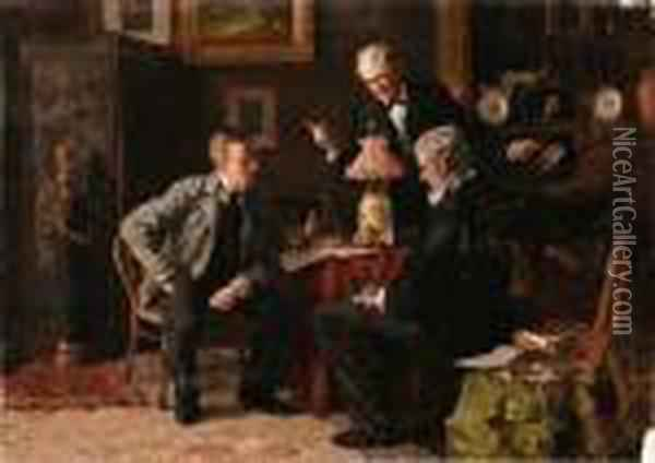 A Notty Question Oil Painting - Louis Charles Moeller
