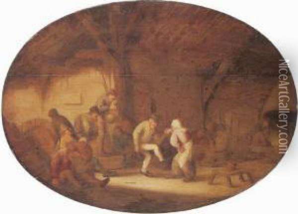 Peasants Dancing In A Barn Interior Oil Painting - Bartholomeus Molenaer