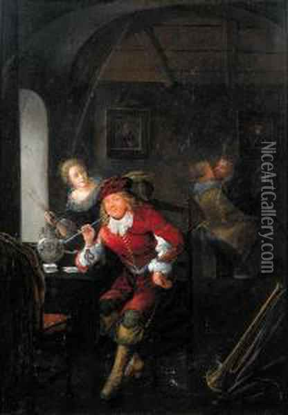 An Officer Smoking A Pipe Seated By A Table In A Brothel Oil Painting - Jan Miense Molenaer