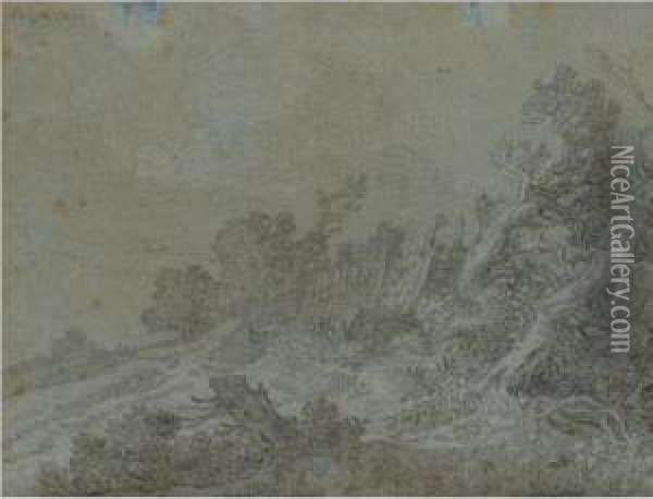 Dune Landscape With Windswept Trees By A Fence To The Right Oil Painting - Pieter De Molijn