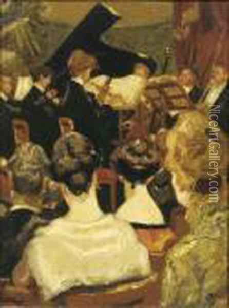 Het Concert: At The Concert Oil Painting - Martin Monnickendam