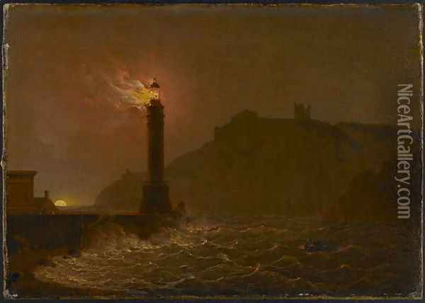 A Lighthouse on fire at night Oil Painting - Josepf Wright Of Derby