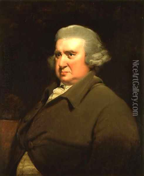 Portrait of Dr Erasmus Darwin, (1731-1802) scientist, inventor and poet, grandfather of Charles Darwin, 1792-93 Oil Painting - Josepf Wright Of Derby