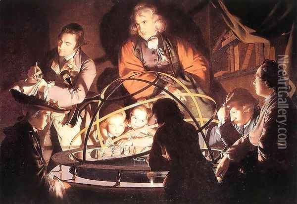 A Philosopher Lecturing with a Mechanical Planetary 1766 Oil Painting - Josepf Wright Of Derby