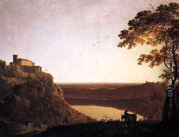 View of the Lake of Nemi 1790-95 Oil Painting - Josepf Wright Of Derby