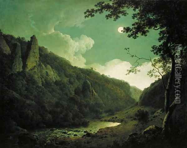 Dovedale by Moonlight, c.1784-85 Oil Painting - Josepf Wright Of Derby