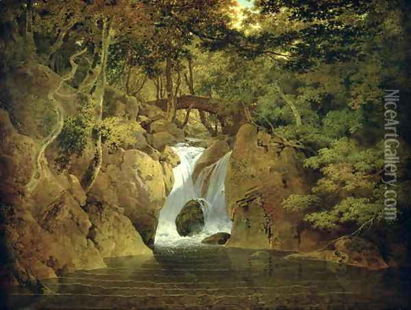 Rydal Waterfall, 1795 Oil Painting - Josepf Wright Of Derby
