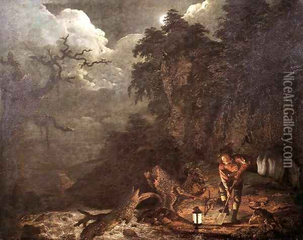 Earthstopper at the Bank of Derwent 1773 Oil Painting - Josepf Wright Of Derby