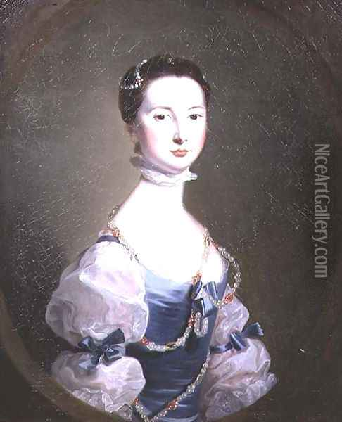 Portrait of a lady of the Cholmley family, c.1755 Oil Painting - Josepf Wright Of Derby