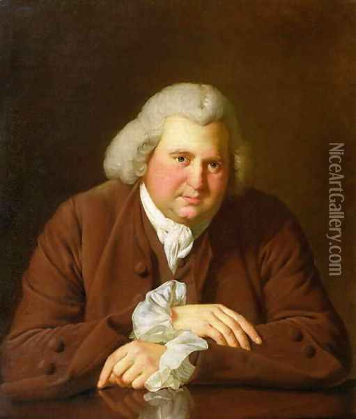 Portrait of Dr Erasmus Darwin (1731-1802) scientist, inventor and poet, grandfather of Charles Darwin, c.1770 Oil Painting - Josepf Wright Of Derby
