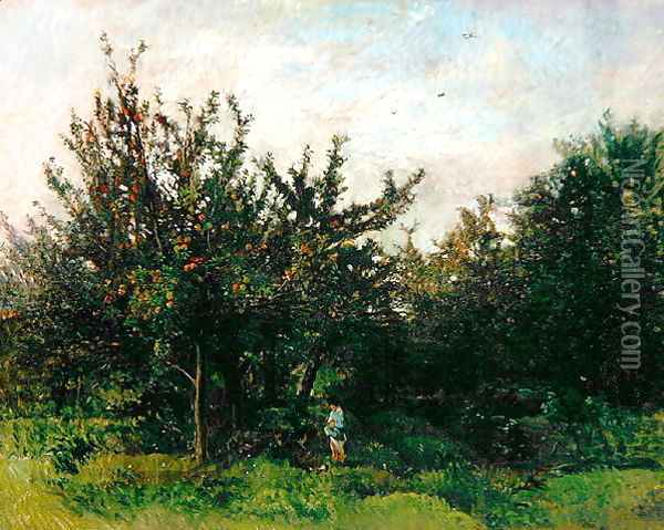 An Apple Orchard Oil Painting - Charles-Francois Daubigny