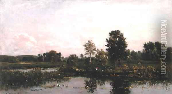 A Bend in the River Oise, 1872 Oil Painting - Charles-Francois Daubigny