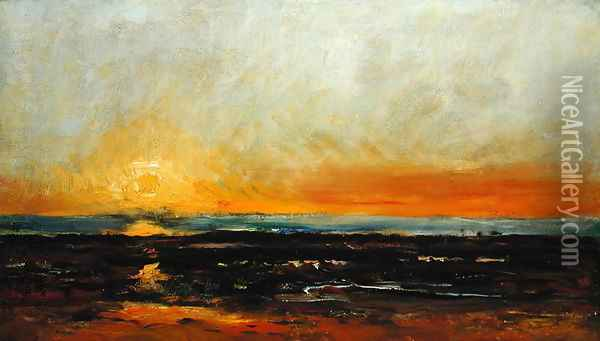 Sunset on the Sea Coast Oil Painting - Charles-Francois Daubigny