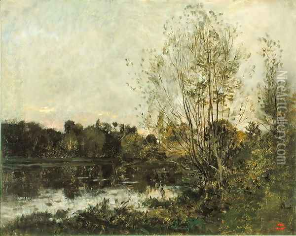 A Lake in the Woods at Dusk, c.1865 Oil Painting - Charles-Francois Daubigny