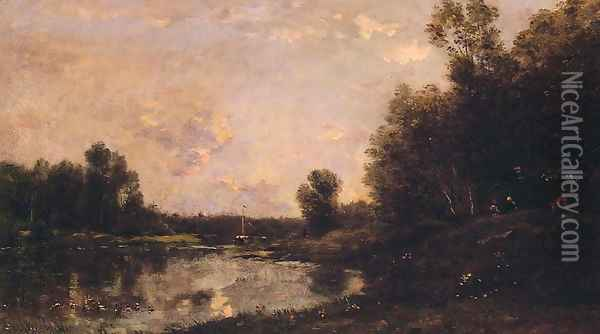 A June Day Oil Painting - Charles-Francois Daubigny