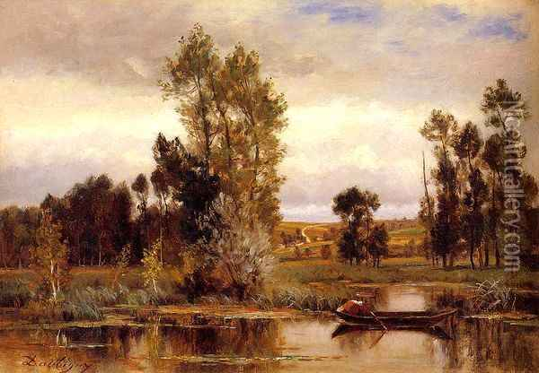 Boat on a Pond Oil Painting - Charles-Francois Daubigny