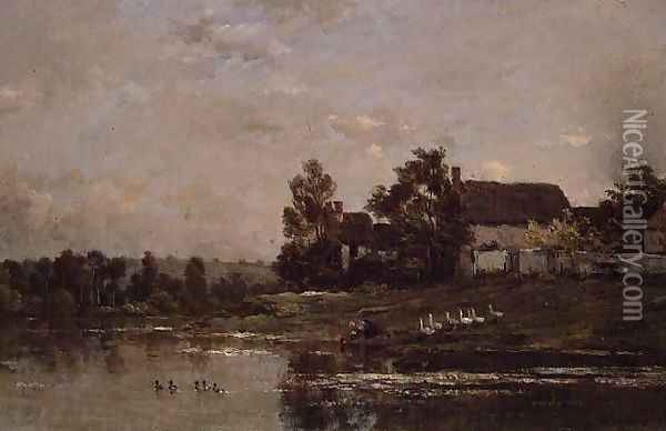 The Banks of the Seine at Portejoie, 1871 Oil Painting - Charles-Francois Daubigny