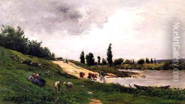 Washerwomen on the Riverbank Oil Painting - Charles-Francois Daubigny