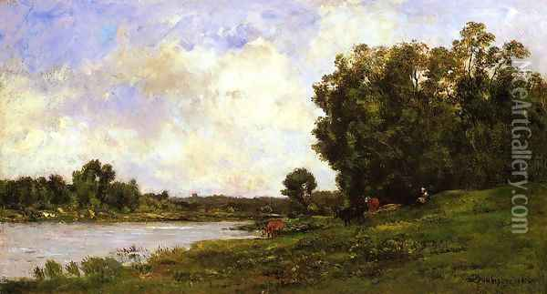 Cattle on the Bank of the River Oil Painting - Charles-Francois Daubigny