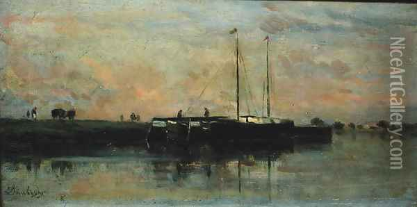 Barges at Bezons Oil Painting - Charles-Francois Daubigny
