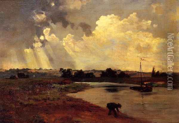 The Banks of the River Oil Painting - Charles-Francois Daubigny