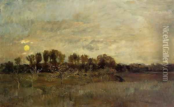 The Orchard at Sunset Oil Painting - Charles-Francois Daubigny