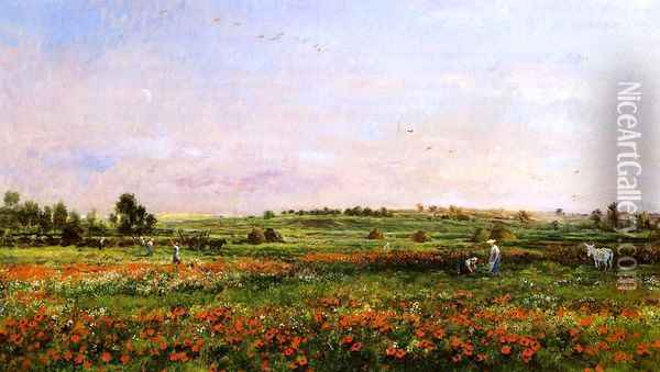 Fields in the Month of June Oil Painting - Charles-Francois Daubigny