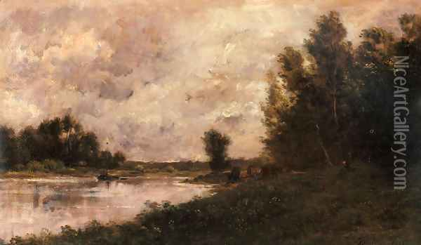 Bords De L'oise I Oil Painting - Charles-Francois Daubigny