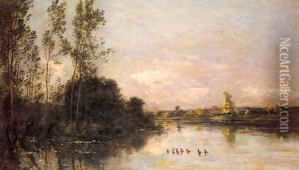 Ducklings in a River Landscape Oil Painting - Charles-Francois Daubigny