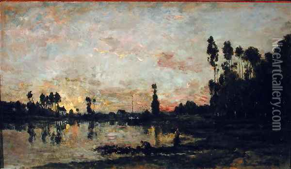 Sunset on the Oise, 1865 Oil Painting - Charles-Francois Daubigny