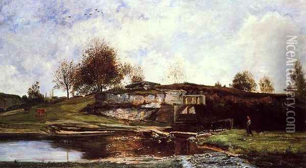 Sluice in the Optevoz Valley Oil Painting - Charles-Francois Daubigny