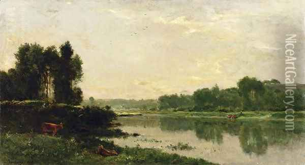 The Banks of the River II Oil Painting - Charles-Francois Daubigny